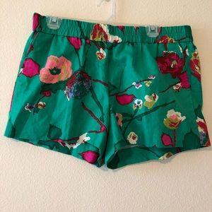 J. Crew Floral Linen Cotton Pull on Shorts Size 12